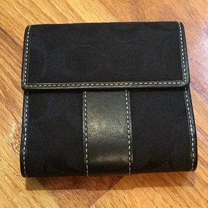 "Coach Signature ""C"" cloth and leather wallet"